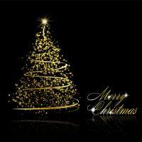 دانلود وکتور درخت کریسمس نوری طلایی زیبا