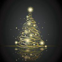 دانلود وکتور نوری طلایی طرح درخت کریسمس