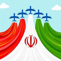 دانلود وکتور پرچم ایران سبک کارتونی با پس زمینه آسمان