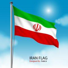 دانلود وکتور لایه باز پرچم ایران روی میله پرچم و پس زمینه آسمان آبی