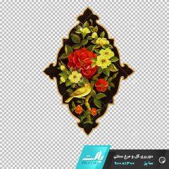 دانلود فایل دوربری شده گل و مرغ سنتی لوزی زمینه سیاه در ابعاد 1300 در 900