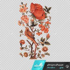 دانلود فایل دوربری شده گل و مرغ سنتی نارنجی در ابعاد 600 در 400