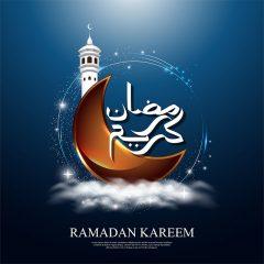 طرح وکتور لایه باز ماه رمضان با طرح گنبد و ماه