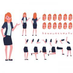 دانلود وکتور لایه باز گرافیکی کاراکتر زن مدل اداری