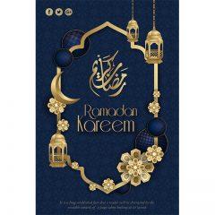ماه رمضان با پس زمینه آبی و المان های شبکه های اجتماعی