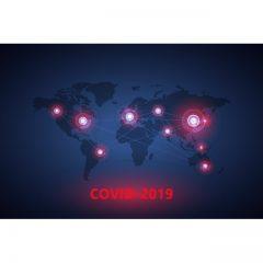 وکتور ویروس کرونا با طرح نقشه جهان و قاره های مبتلا