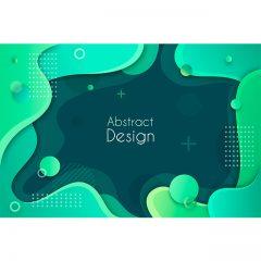 دانلود وکتور پس زمینه انتزاعی آبرنگی 3بعدی با رنگبندی سبز و مشکی