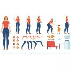 دانلود کاراکتر لایه باز پک کامل گارسون خانم برای موشن گرافیک و انیمیشن