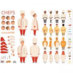 طرح وکتور کاراکتر لایه باز آشپز مرد برای موشن گرافیک و انیمیشن