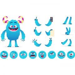 دانلود کاراکتر لایه باز غول آبی رنگ برای موشن گرافیک و انیمیشن