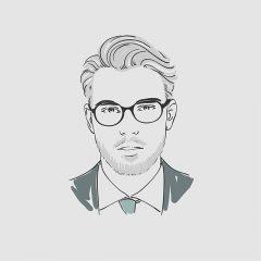 دانلود وکتور لایه باز پرتره مرد تمام رخ عینکی مناسب بوتیک و آرایشگاه