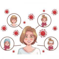 دانلود وکتور لایه باز پوستر علائم بیماری کرونا با رنگبندی سفید صورتی