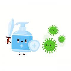 طرح وکتور کرونا ویروس با طراحی مایع دستشویی