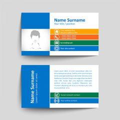 دانلود طرح لایه باز وکتور کارت ویزیت شرکتی با تم رنگ چند رنگ