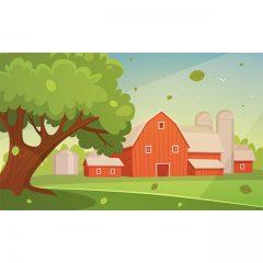 وکتور لایه باز کارتونی لندسکیپ مزرعه کشاورزی
