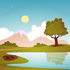 طرح وکتور کارتونی لایه باز کوهستانی و پرنده و رودخانه