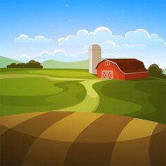 وکتور لایه باز لندسکیپ مزرعه کشاورزی و سوله
