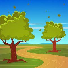 وکتور پس زمینه کارتونی تابستانه درخت و جاده خاکی