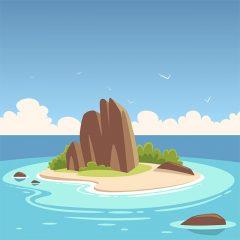 وکتور لایه باز کارتونی از جزیره استوایی