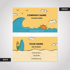 دانلود کارت ویزیت آماده فانتزی طرح ساحل با رنگ نارنجی شیک