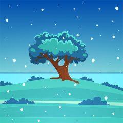 پس زمینه کارتونی تک درخت با تم زمستانی