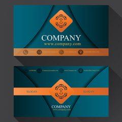 دانلود وکتور گرافیکی کارت ویزیت لایه باز شرکتی با طراحی خاص و رنگ آبی کلاسیک