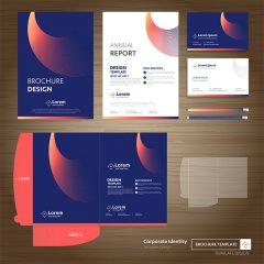 طرح وکتور لایه ست ابزار اداری با طرح زیبا و رنگبندی آبی قرمز