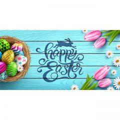 دانلود تصویر وکتور تبریک عید پاک با طرح گل و تخم مرغ