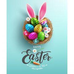 دانلود وکتور لایه باز تبریک عید پاک با طرح تخم مرغ خرگوشی