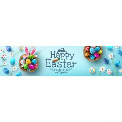 دانلود تصویر وکتور لایه باز تبریک عید پاک با پس زمینه آبی