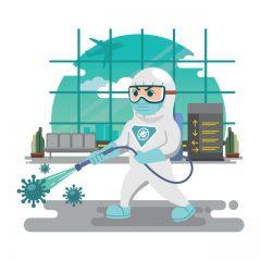 طرح لایه باز ویروس کرونا و ضد عفونی محیط فرودگاه
