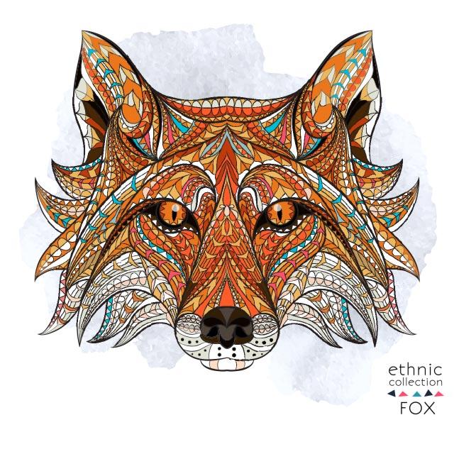 وکتور تصویر سازی سنتی روباه
