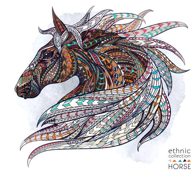 وکتور تصویرسازی شده و انتزاعی اسب