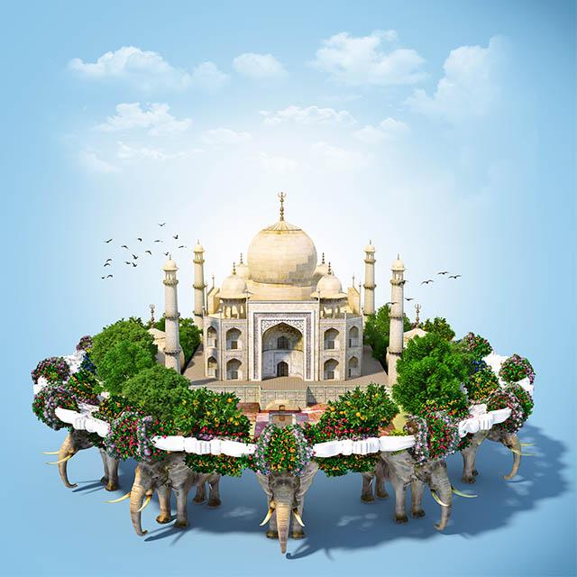 تصویر خلاقانه استاک از مسجد تاج محل