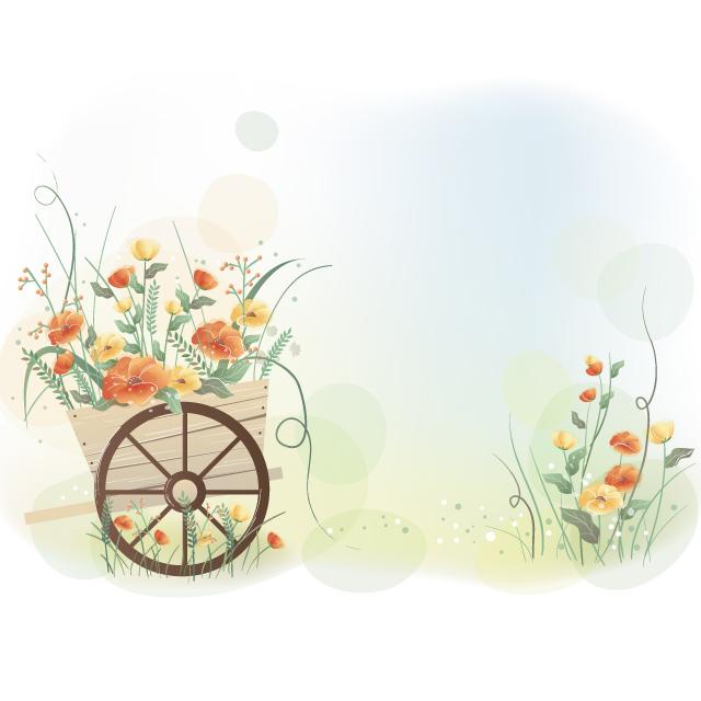 دانلود وکتور پس زمینه کالسکه گل