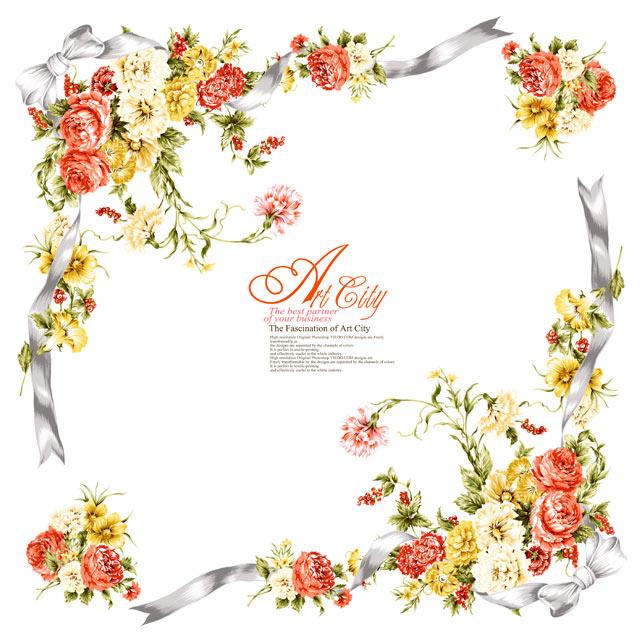 دانلود قاب گلدار روبان نقره ای