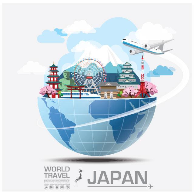 وکتور مفهومی فلت با موضوع سفر به ژاپن