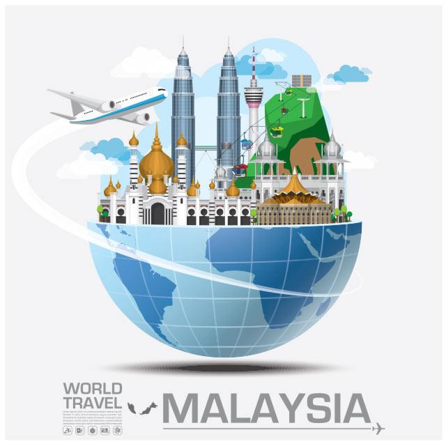 وکتور مفهومی فلت با موضوع سفر به مالزی