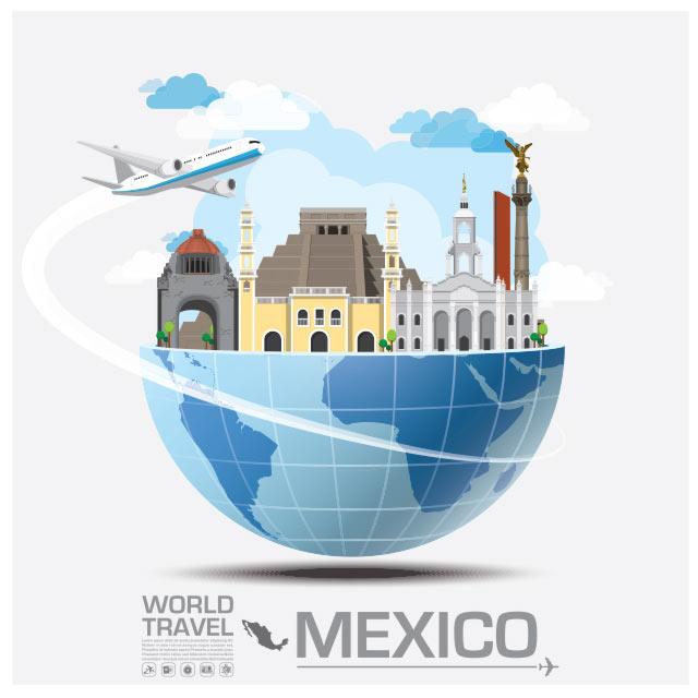 وکتور مفهومی فلت با موضوع سفر به مکزیک