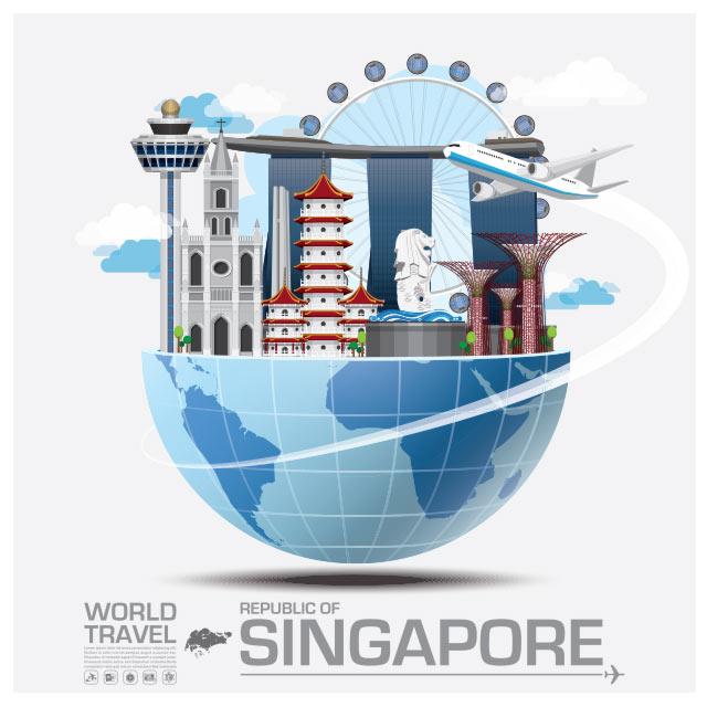 وکتور مفهومی فلت با موضوع سفر به سنگاپور
