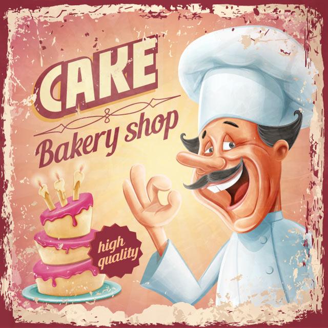 وکتور کارتونی سر آشپز و کیک چند طبقه