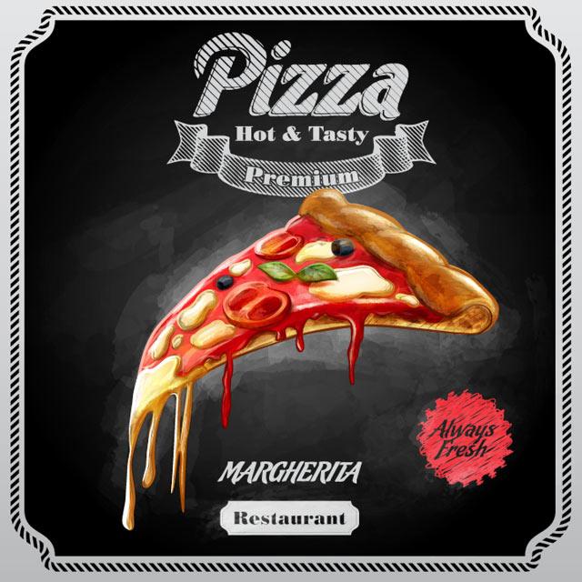وکتور کارتونی پیتزا و فست فود