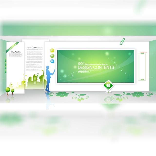دانلود وکتور صفحه نمایش کنفرانس سبز