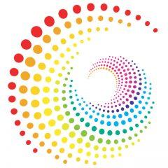 دانلود وکتور پس زمینه گرداب نقطه های رنگی
