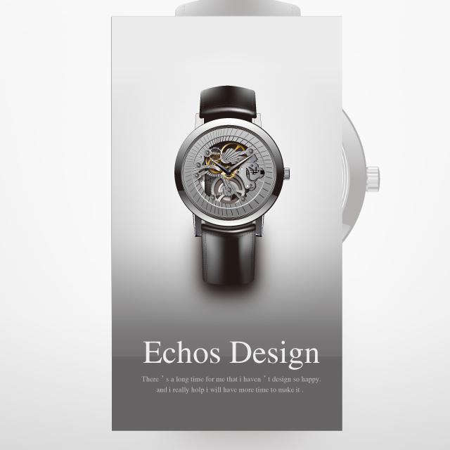 دانلود وکتور ساعت مچی بند مشکی زیبا