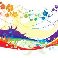 دانلود وکتور پس زمینه گل های رنگارنگ