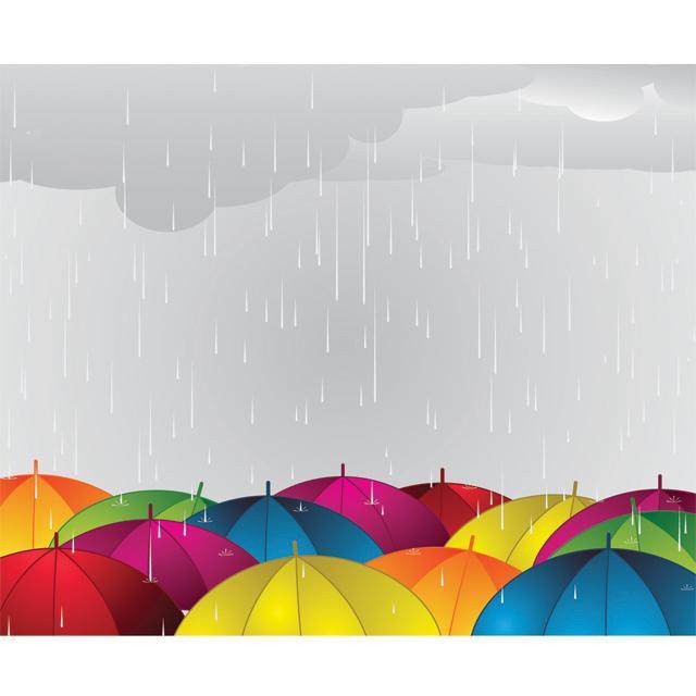 دانلود وکتور پس زمینه چترهای رنگی زیر باران