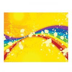 دانلود وکتور پس زمینه زرد با رنگین کمان