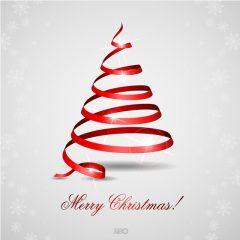 دانلود وکتور ربان قرمز طرح درخت کریسمس