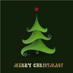 دانلود وکتور درخت کریسمس فانتزی سبز